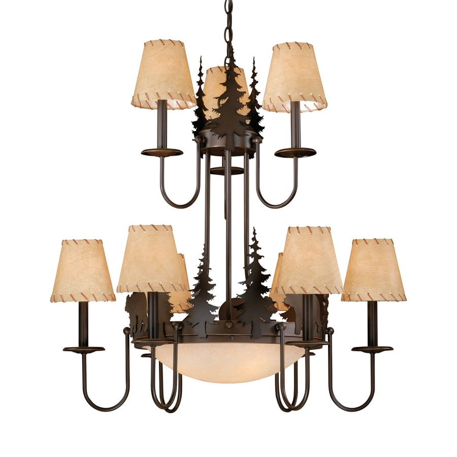 Cascadia Lighting Bozeman 31-in 12-Light Burnished Bronze Rustic Tinted Glass Tiered Chandelier