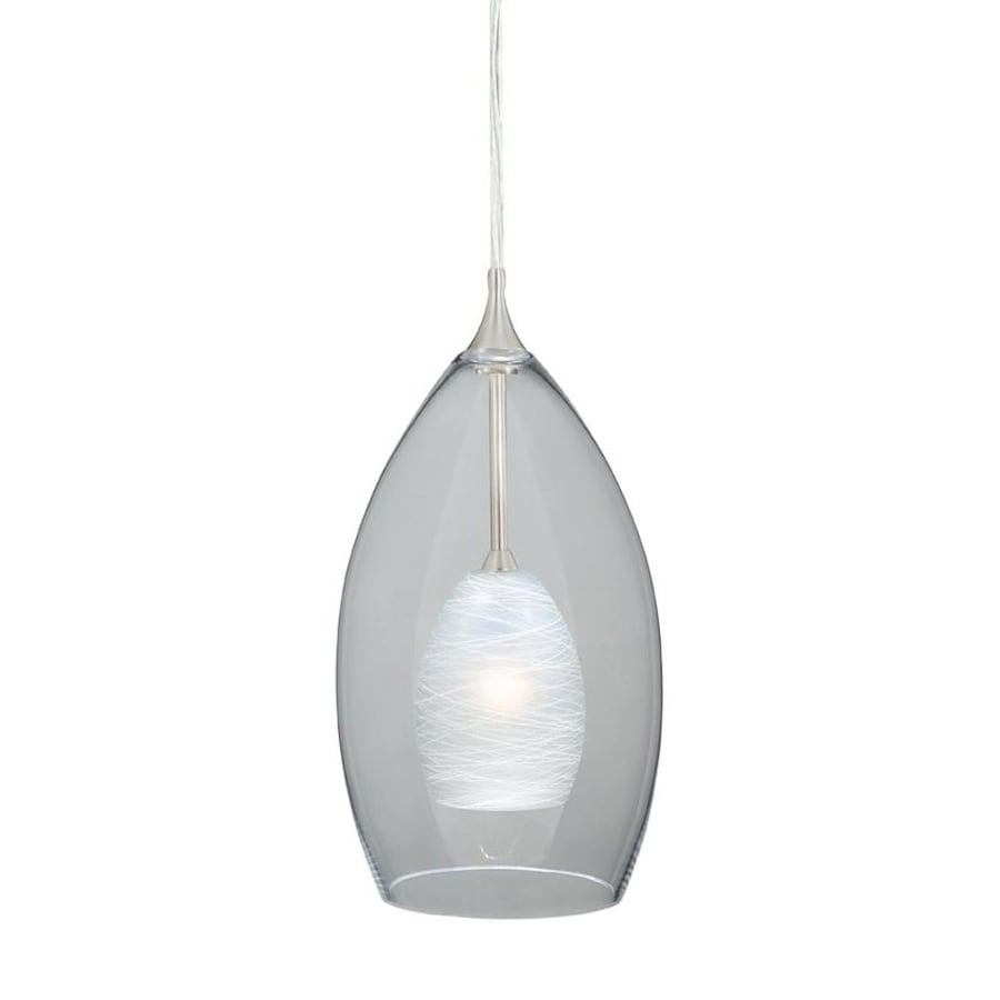 Teardrop Glass Vanity Light : Shop Cascadia Lighting Milano 5-in Satin Nickel Mini Clear Glass Teardrop Pendant at Lowes.com