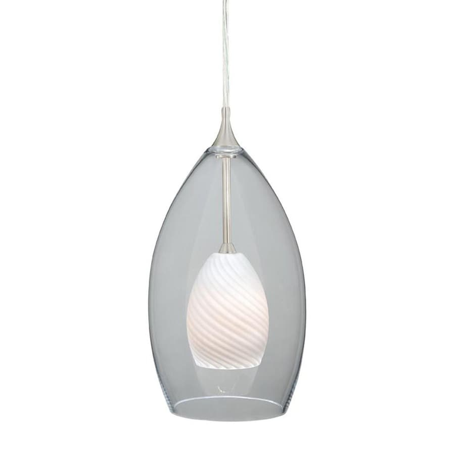 Cascadia Lighting Milano 5-in Satin Nickel Mini Clear Glass Teardrop Pendant
