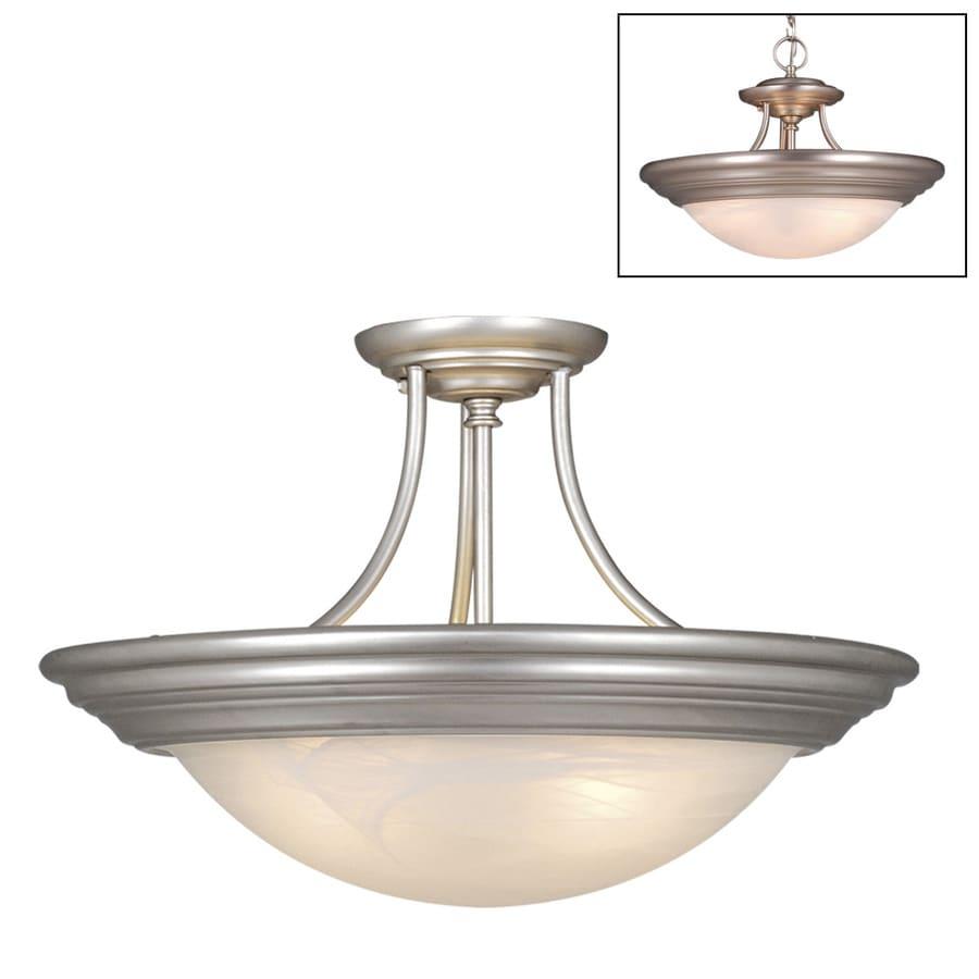 Cascadia Lighting Tertial 17-in W Brushed Nickel Alabaster Glass Semi-Flush Mount Light