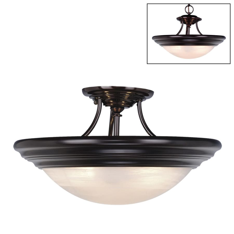 Cascadia Lighting Tertial 17-in W Oiled Burnished Bronze Alabaster Glass Semi-Flush Mount Light