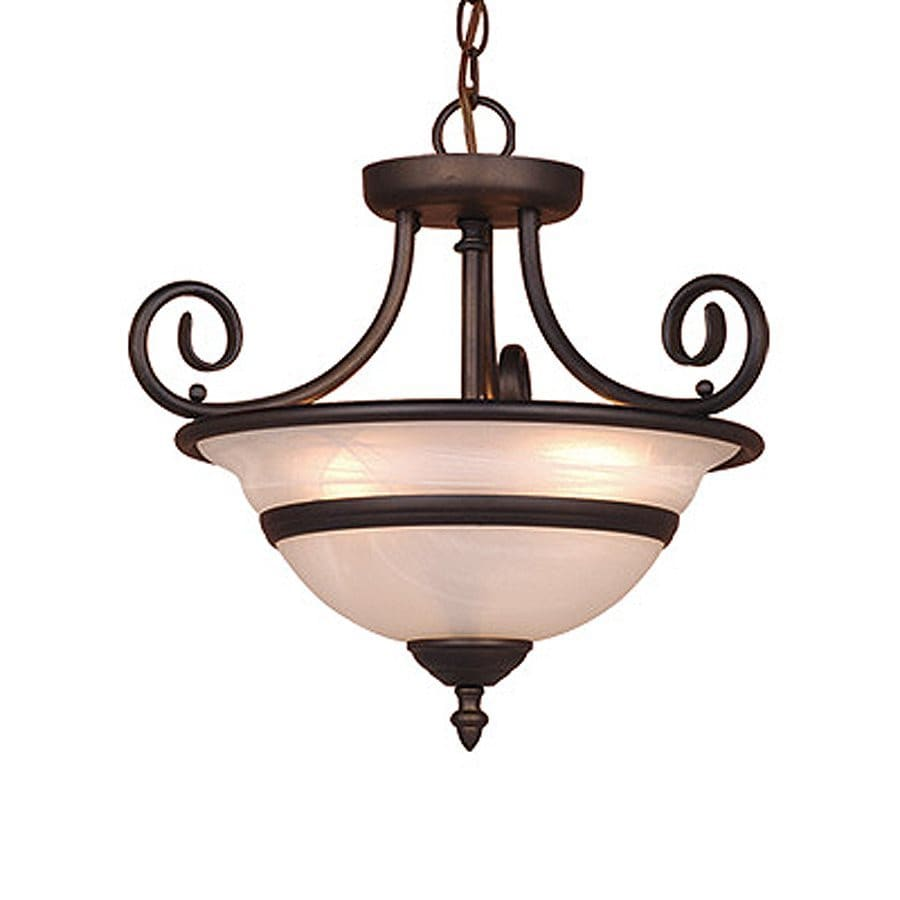 Cascadia Lighting Da Vinci 16-in W Oiled Burnished Bronze Alabaster Glass Semi-Flush Mount Light