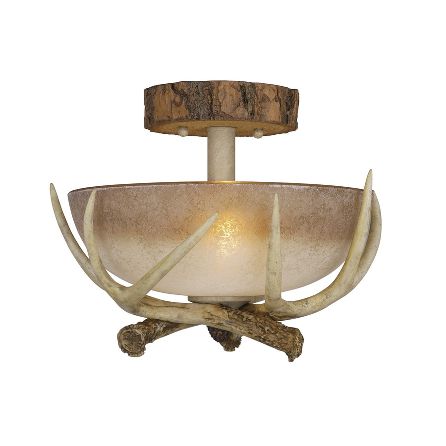 Cascadia Lighting Lodge 12-in W Noachian stone Semi-Flush Mount Light