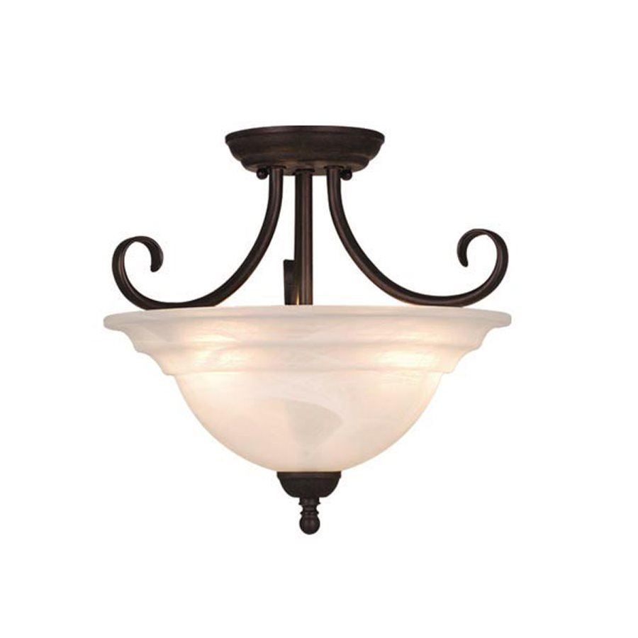 Cascadia Lighting Babylon 14-in W Oiled Burnished Bronze Alabaster Glass Semi-Flush Mount Light