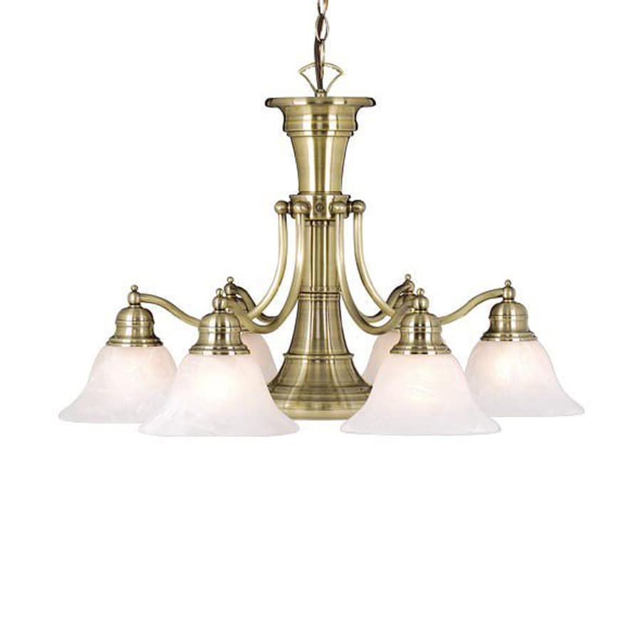 Cascadia Lighting Standford 26-in 7-Light Antique Brass Alabaster Glass Shaded Chandelier