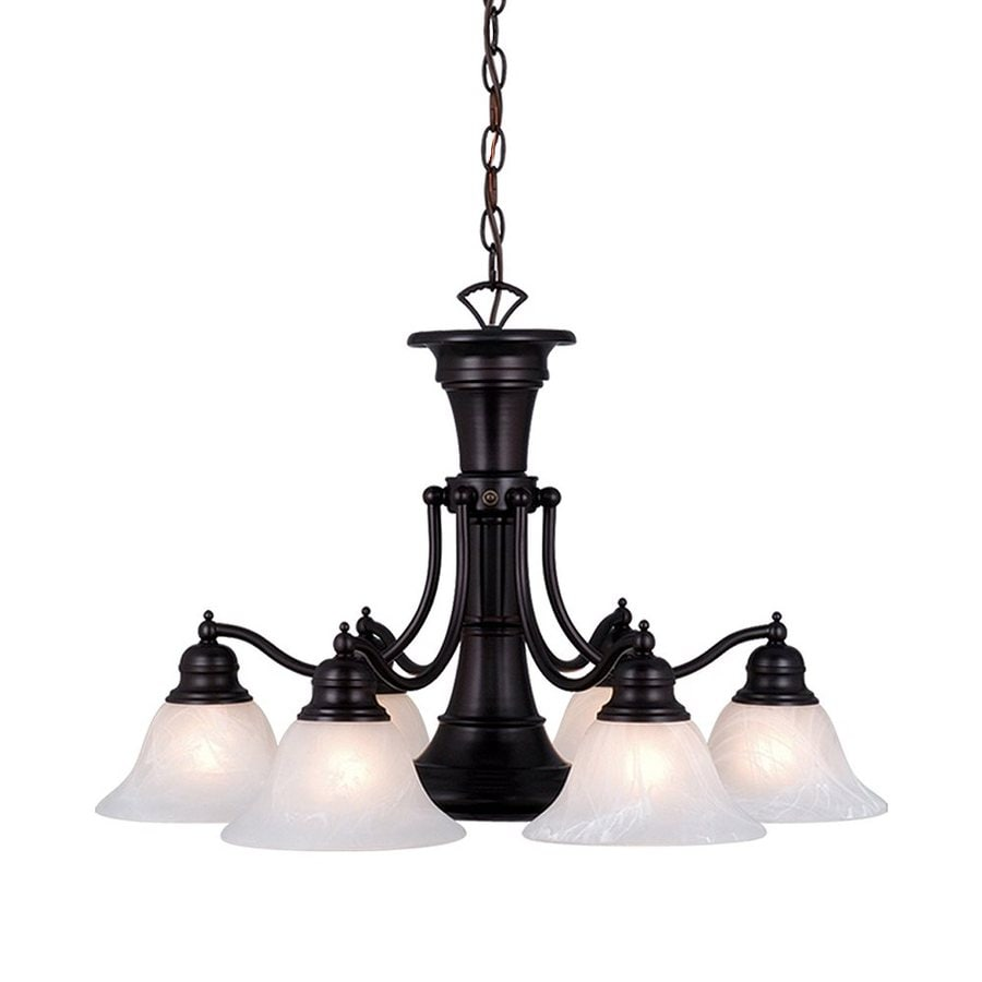 Cascadia Lighting Standford 26-in 7-Light Oil-Burnished Bronze Alabaster Glass Shaded Chandelier