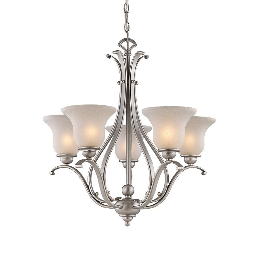 Cascadia Lighting Monrovia 25.5-in 5-Light Brushed Nickel Mediterranean Shaded Chandelier