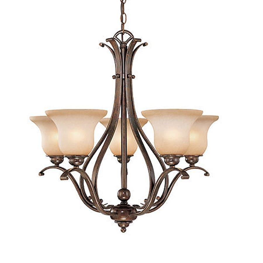 Cascadia Lighting Monrovia 25.5-in 5-Light Royal Bronze Mediterranean Tinted Glass Shaded Chandelier