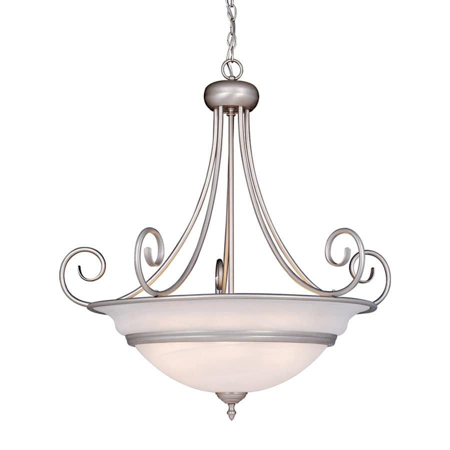Cascadia Lighting Da Vinci 31.5-in Brushed Nickel Single Alabaster Glass Bowl Pendant