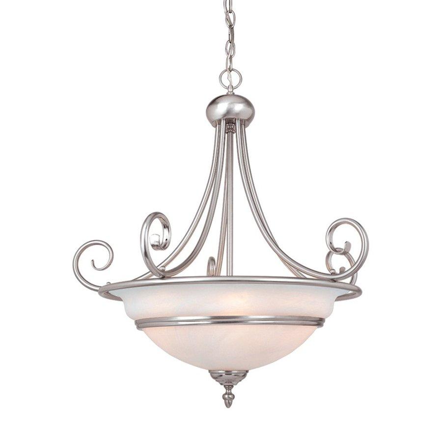 Cascadia Lighting Da Vinci 23.5-in Brushed Nickel Single Alabaster Glass Bowl Pendant