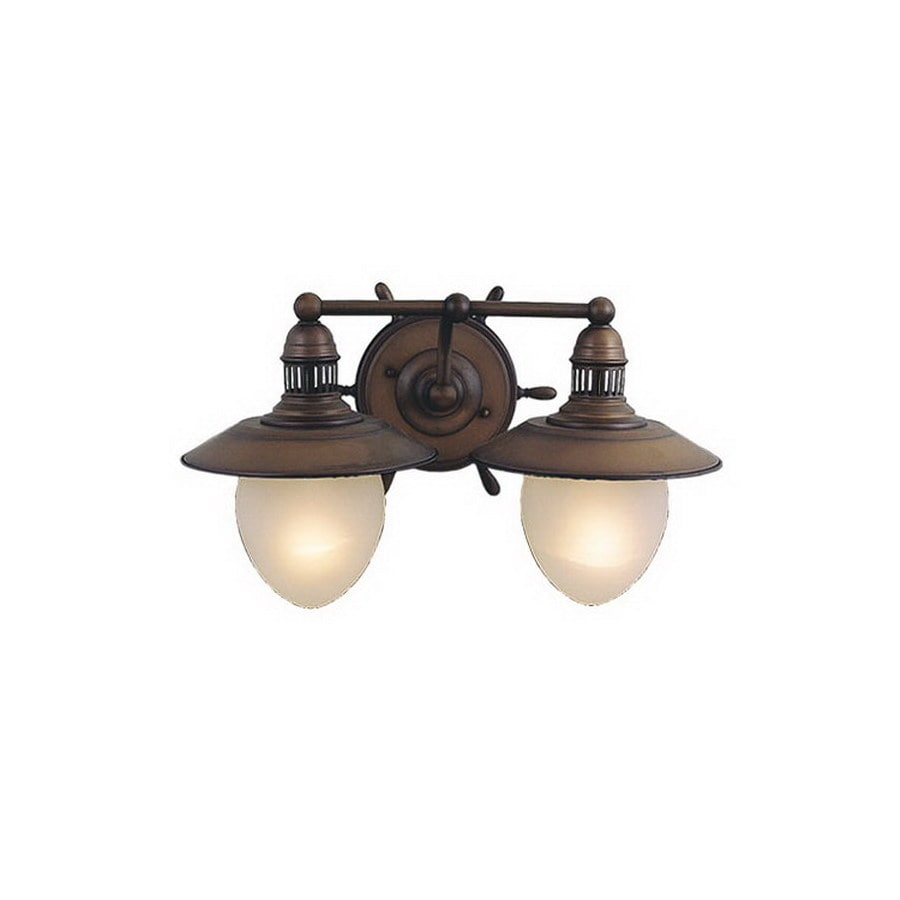 Shop Cascadia Lighting 2-Light Nautical Antique Red Copper Bathroom Vanity Light at Lowes.com