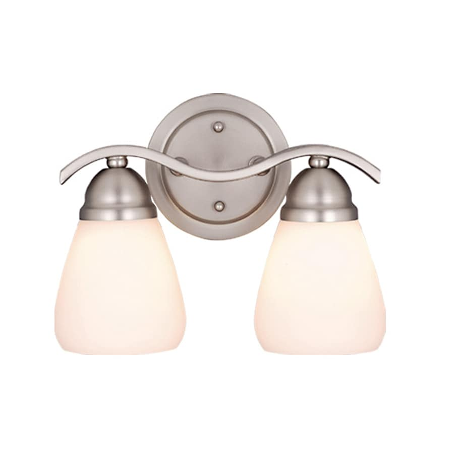 Cascadia Lighting Inns Brook 2-Light 8.5-in Brushed Nickel Bell Vanity Light