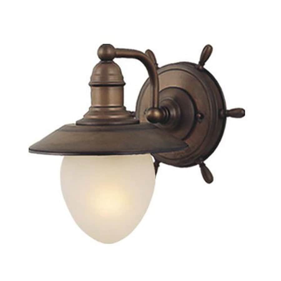 Cascadia Lighting Nautical 9-in W 1-Light Antique red copper Arm Wall Sconce