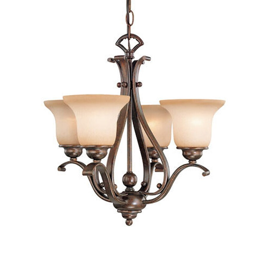 Cascadia Lighting Monrovia 18.5-in 4-Light Royal bronze Mediterranean  Tinted Glass Shaded Chandelier