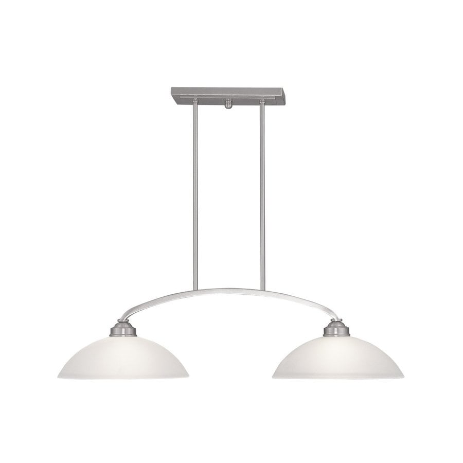 Lowes Kitchen Wall Lights : Shop Livex Lighting Somerset 34-in W 2-Light Brushed Nickel Kitchen Island Light with White ...