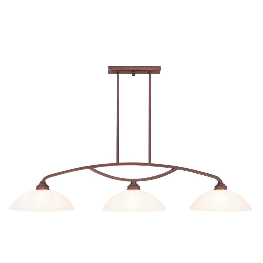 Livex Lighting Somerset 50-in W 3-Light Vintage Bronze Kitchen Island Light with White Shades