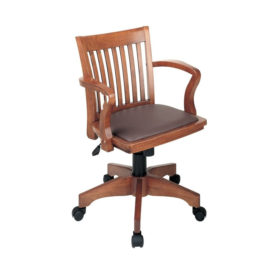 Office Star OSP Designs Brown/Fruitwood Vinyl Bankers Office Chair
