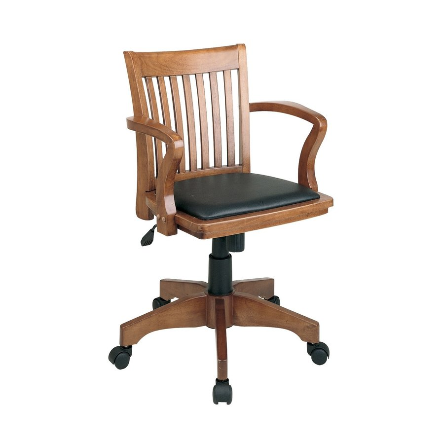 Office Star One OSP Designs Black/Fruitwood Vinyl Task Office Chair