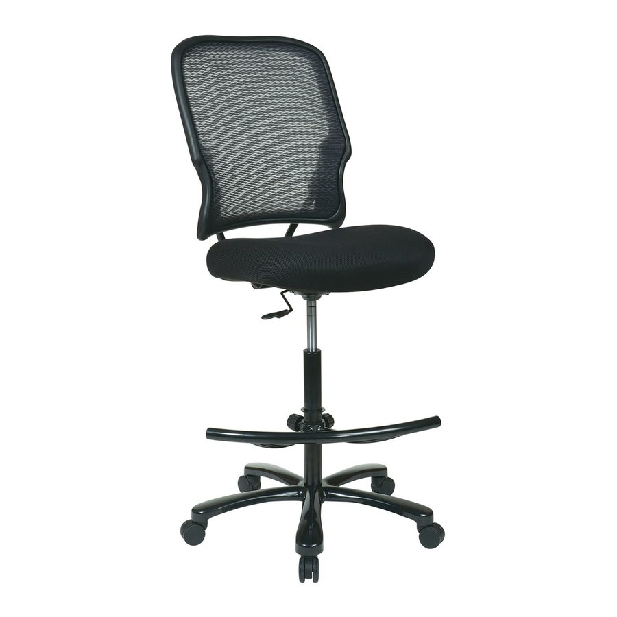 Shop Office Star Space Seating Black Gun Metal Contemporary Drafting Chair At