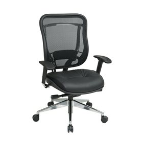 Office Star Space Seating Black/Polished Aluminum Contemporary Task Chair