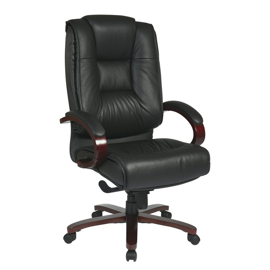 Office Star Pro-line II Black/Mahogany Transitional Manager Chair