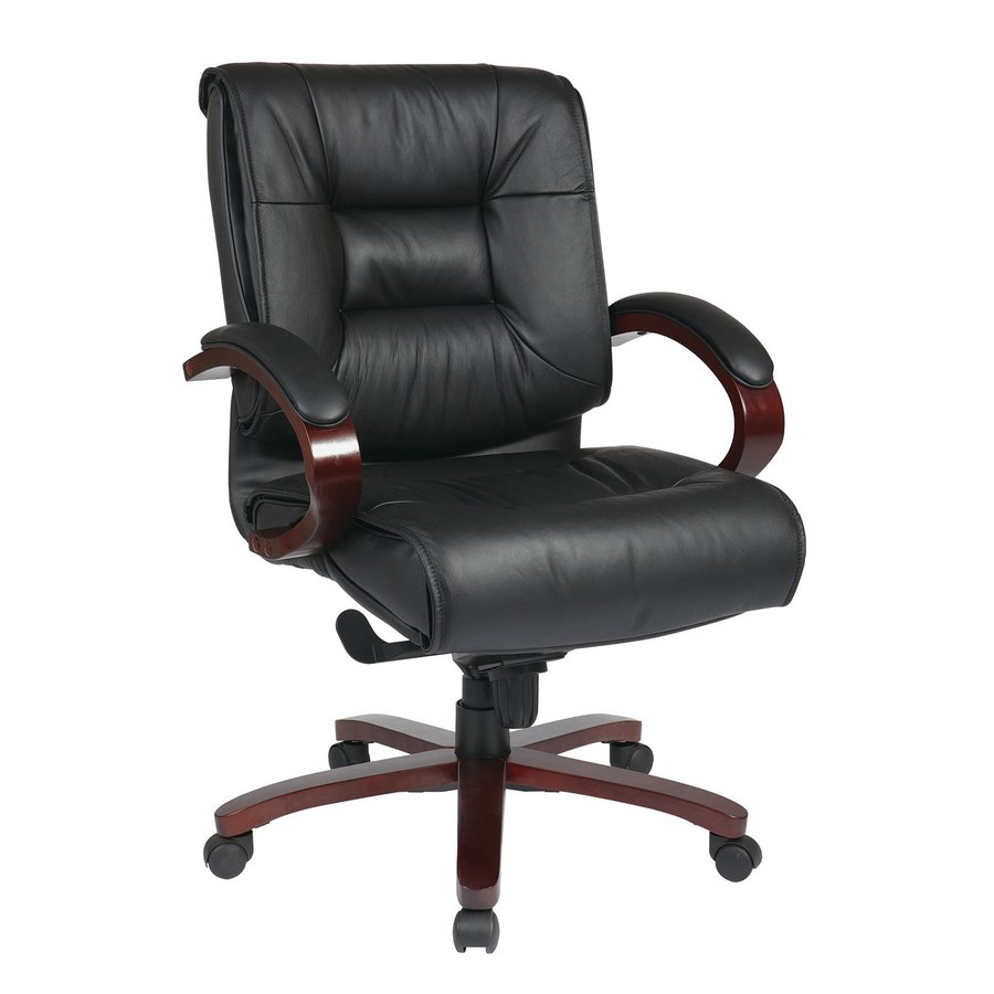 Office Star One Proline II Black/Mahogany Leather Executive Office Chair