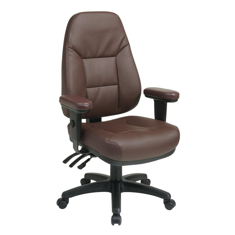 Office Star Worksmart EC Burgundy Bonded Leather Executive Office Chair