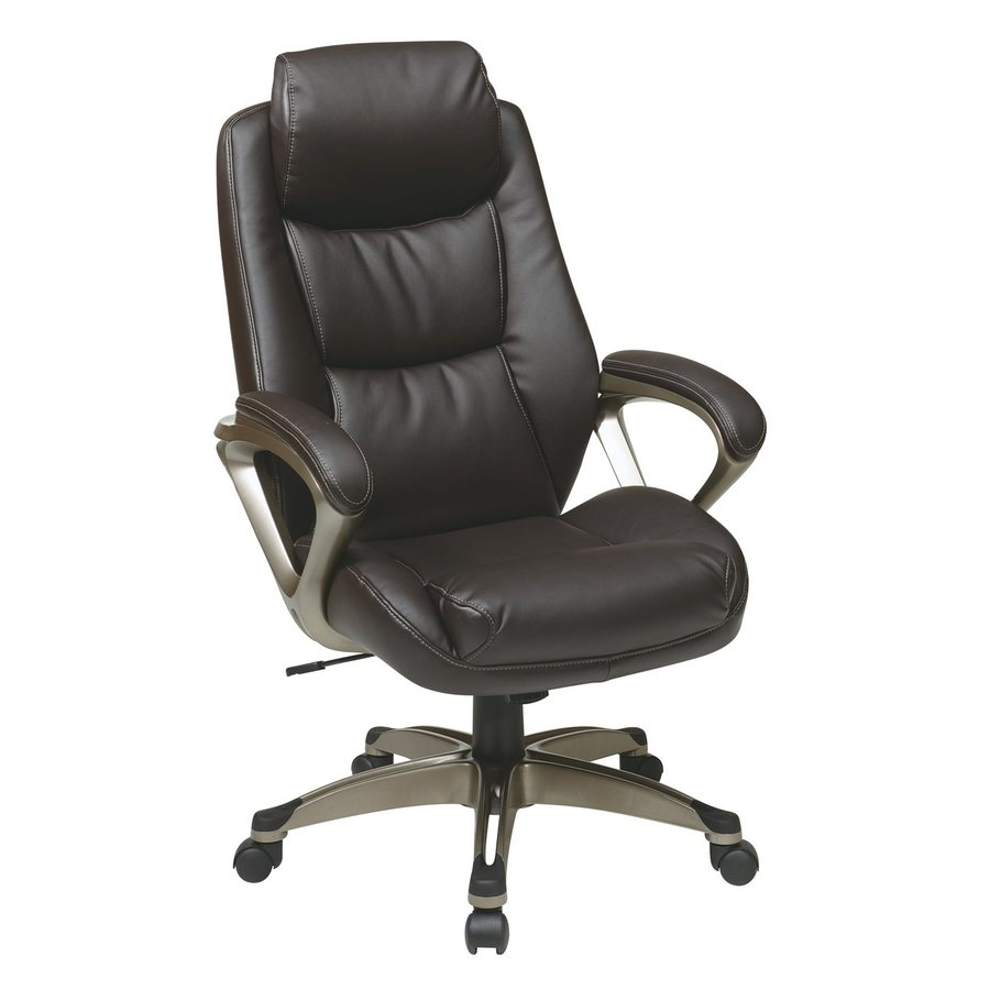 Office Star One WorkSmart Espresso/Cocoa Leather Executive Office Chair
