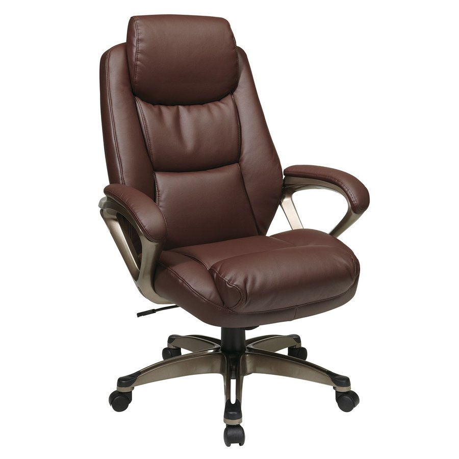 Office Star One WorkSmart Wine/Cocoa Leather Executive Office Chair