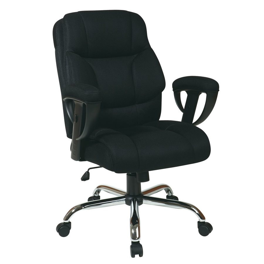 star worksmart big and tall black chrome mesh manager office chair