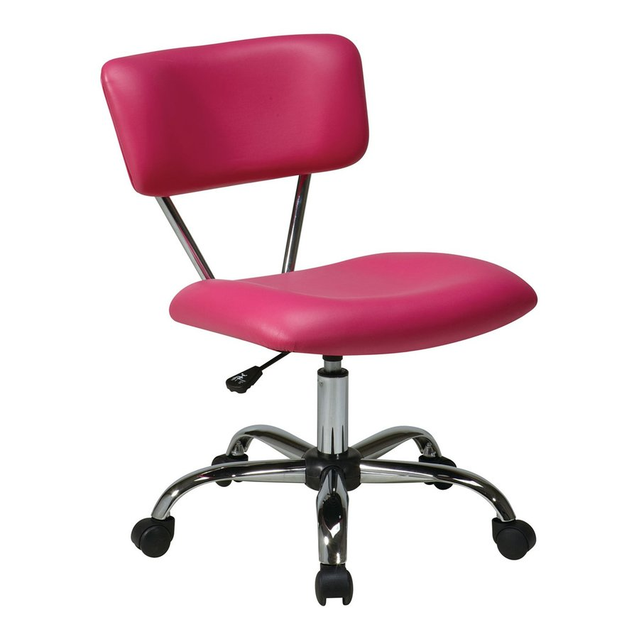 Office Star One Avenue Six Pink/Chrome Vinyl Task Office Chair
