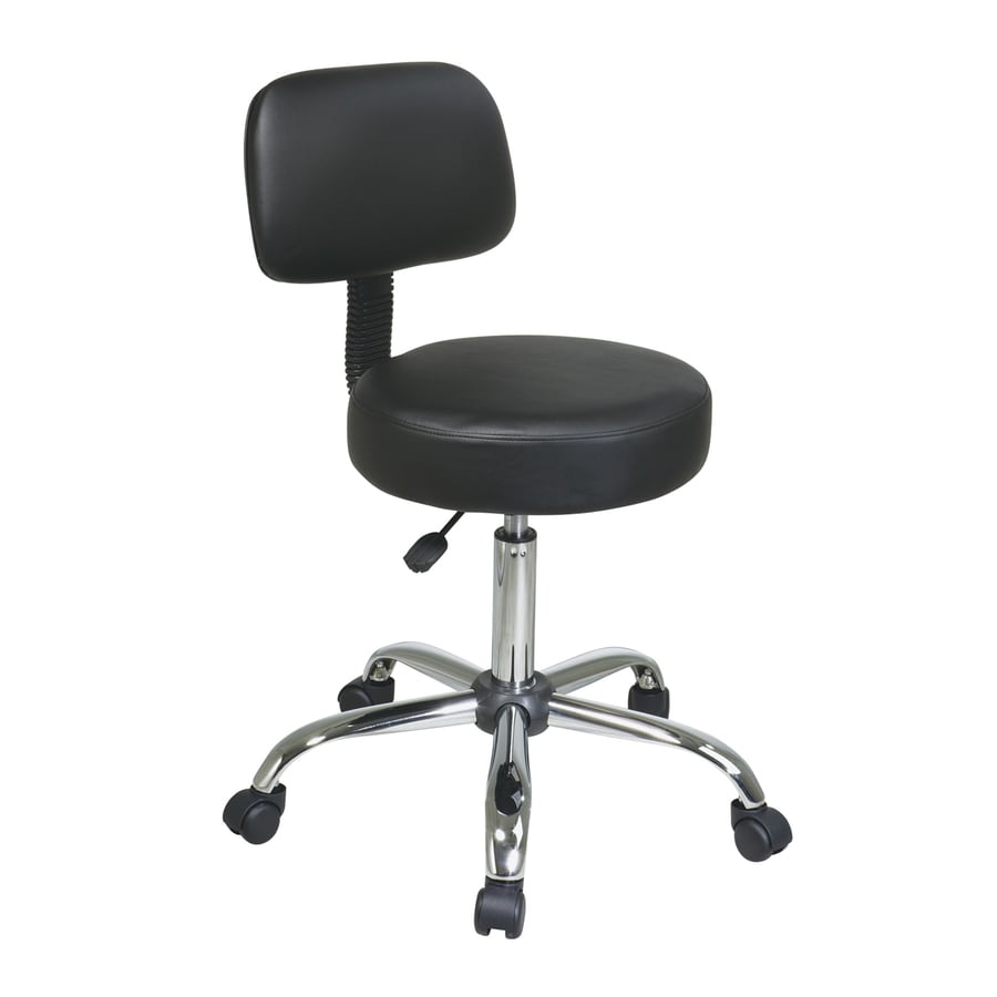 Office Star Worksmart ST Black/Chrome Vinyl Drafting Office Chair