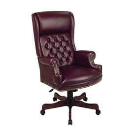Office Star WorkSmart Jamestown Oxblood/Mahogany Traditional Executive Chair