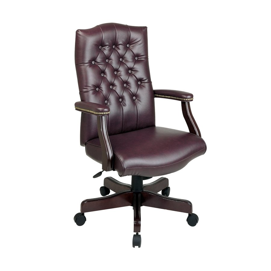 Shop Office Star WorkSmart Jamestown Oxblood Mahogany Traditional Executive C