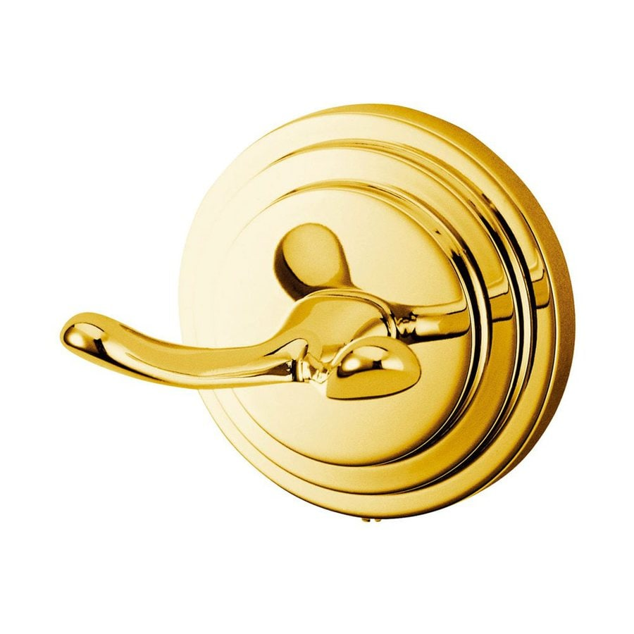 Elements of Design Milano 2-Hook Polished Brass Robe Hook