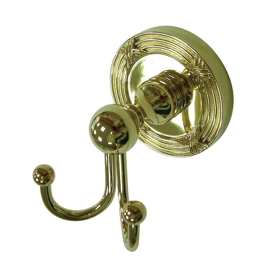 Elements of Design Georgian 2-Hook Polished Brass Towel Hook