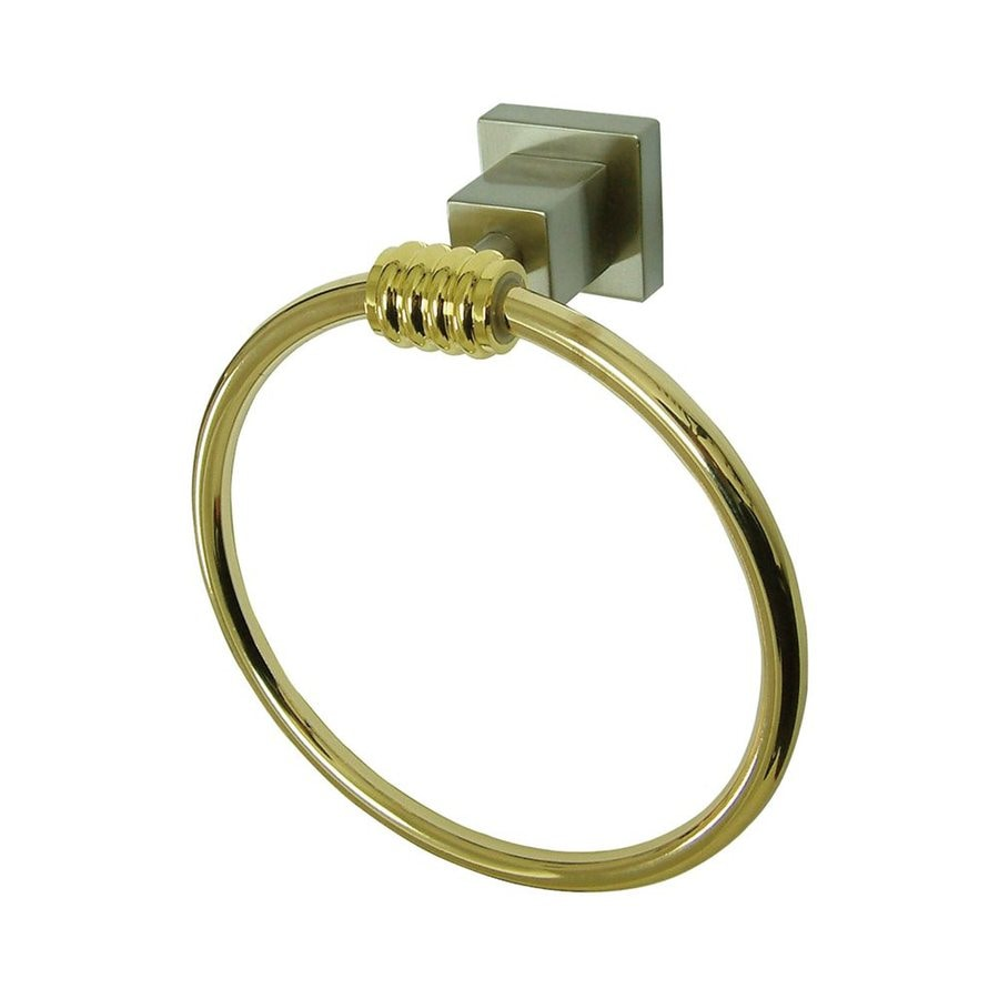 Elements of Design Fortress Satin Nickel/Polished Brass Wall-Mount Towel Ring
