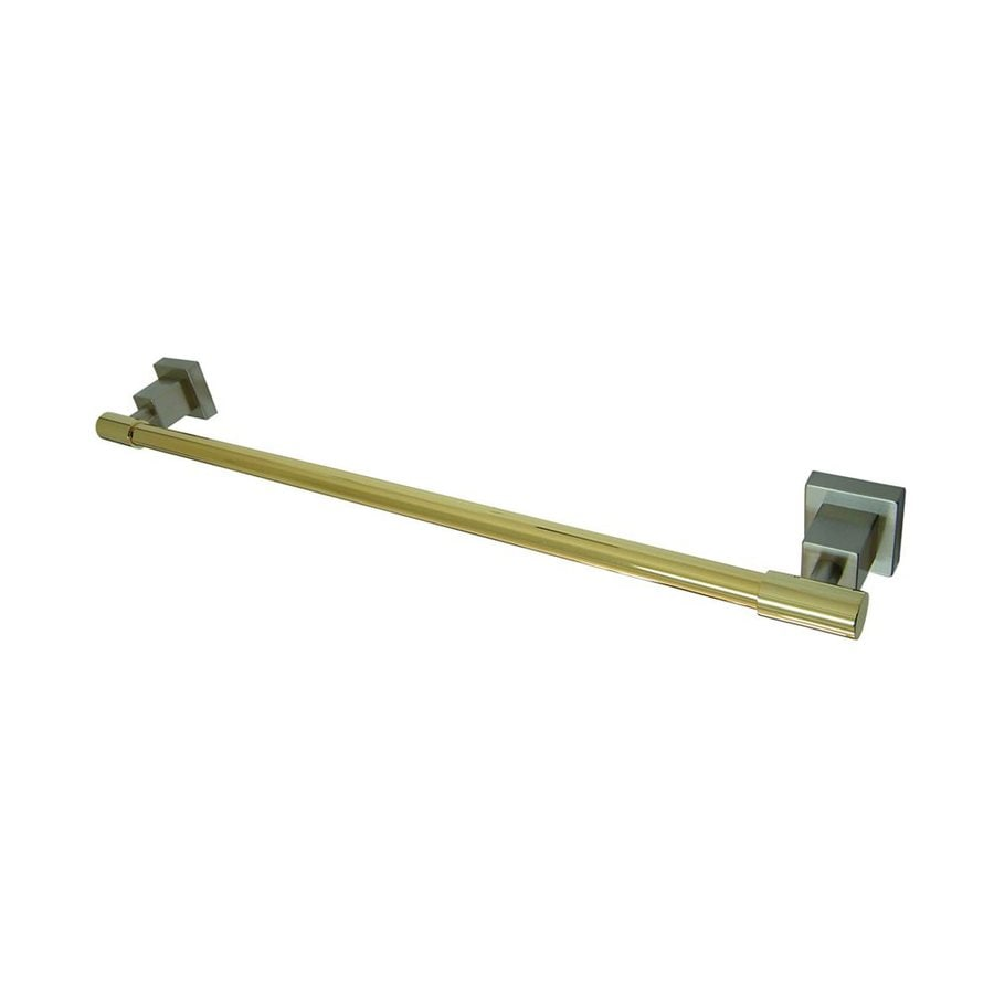 Elements of Design Claremont Satin Nickel/Polished Brass Single Towel Bar (Common: 24-in; Actual: 25.75-in)
