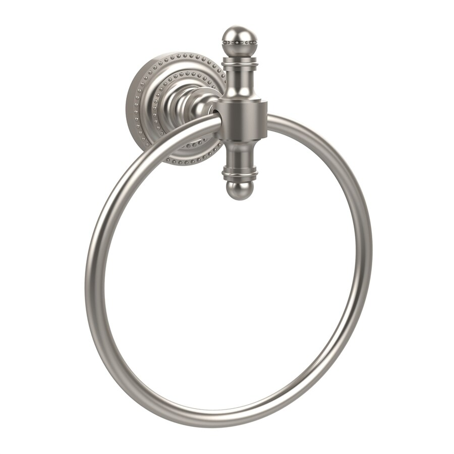 Allied Brass Retro-Dot Satin Nickel Wall-Mount Towel Ring