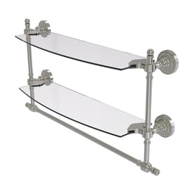 Allied Brass Retro Dot 2 Tier Satin Nickel Brass Bathroom Shelf