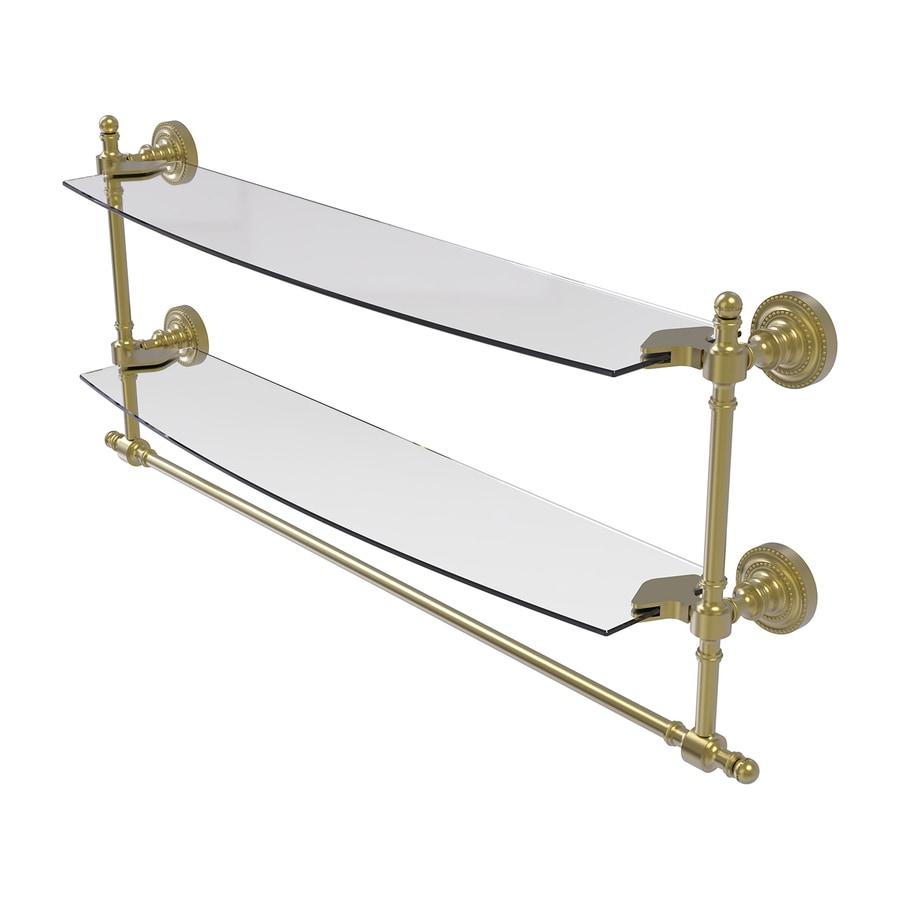 Allied Brass Retro-Dot 2-Tier Satin Brass Brass Bathroom Shelf
