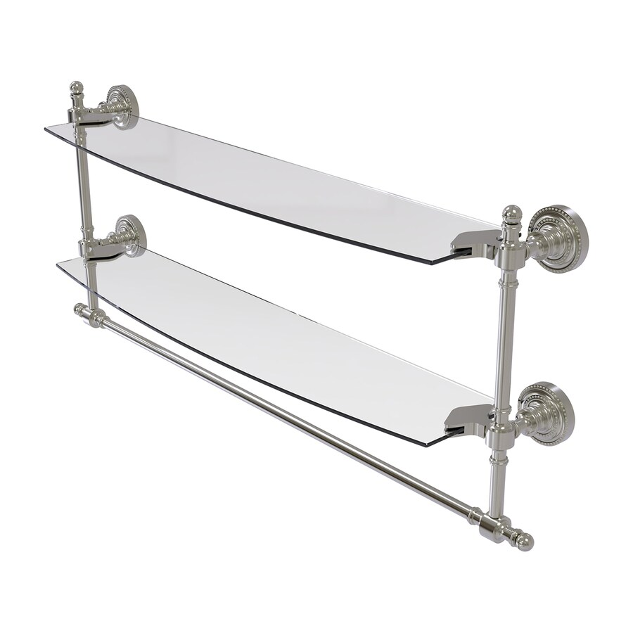 Allied Brass Retro Dot 2-Tier Satin Nickel Brass Bathroom Shelf