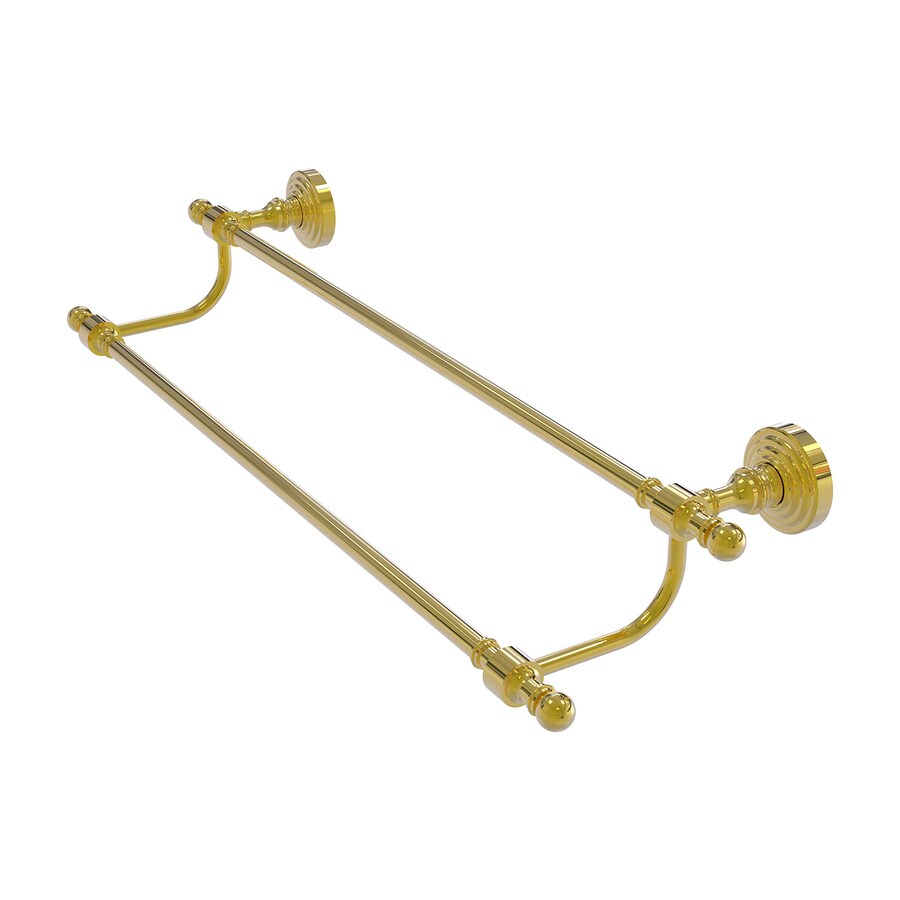 Allied Brass Retro Wave Polished Brass Double Towel Bar (Common: 24-in Double; Actual: 26.8-in)