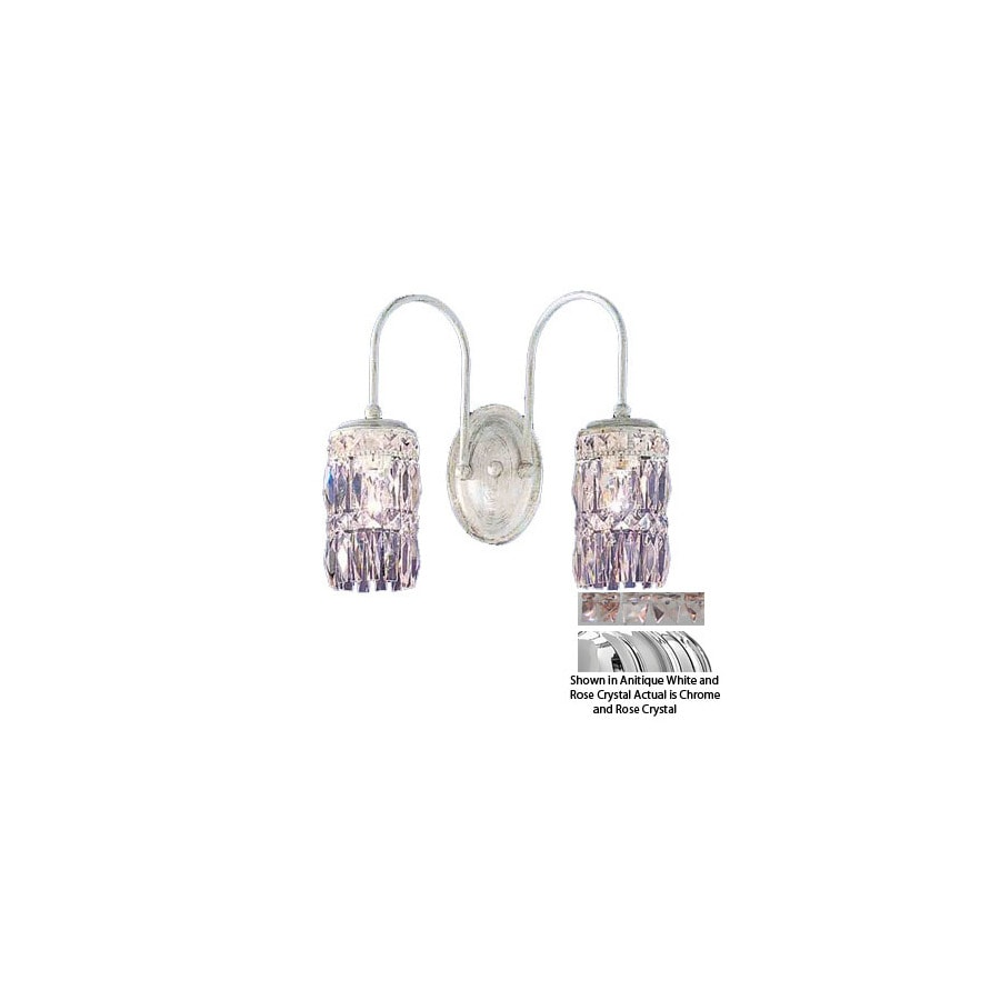 Classic Lighting 14-in W Cascade 2-Light Chrome Crystal Arm Wall Sconce