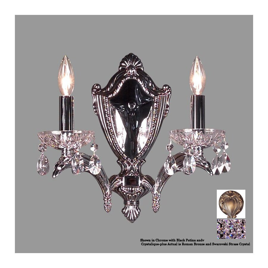 Classic Lighting 13-in W Terragona 2-Light Roman Bronze Crystal Arm Wall Sconce