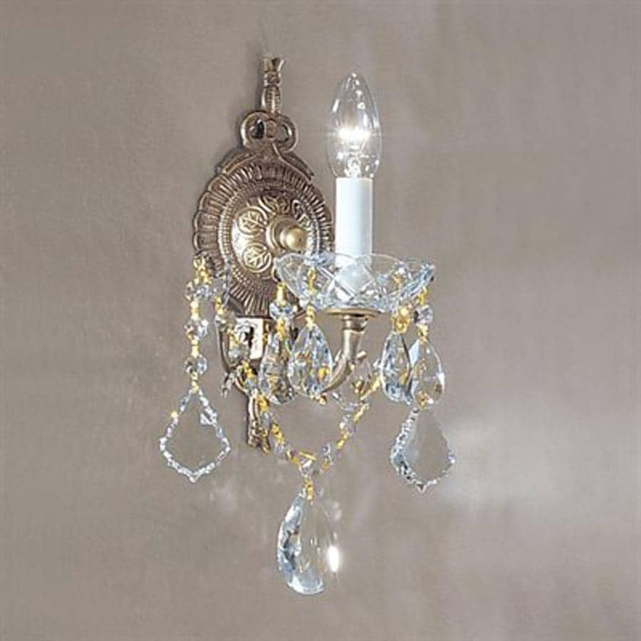 Classic Lighting Madrid Imperial 9-in W 1-Light Roman bronze Crystal Arm Wall Sconce