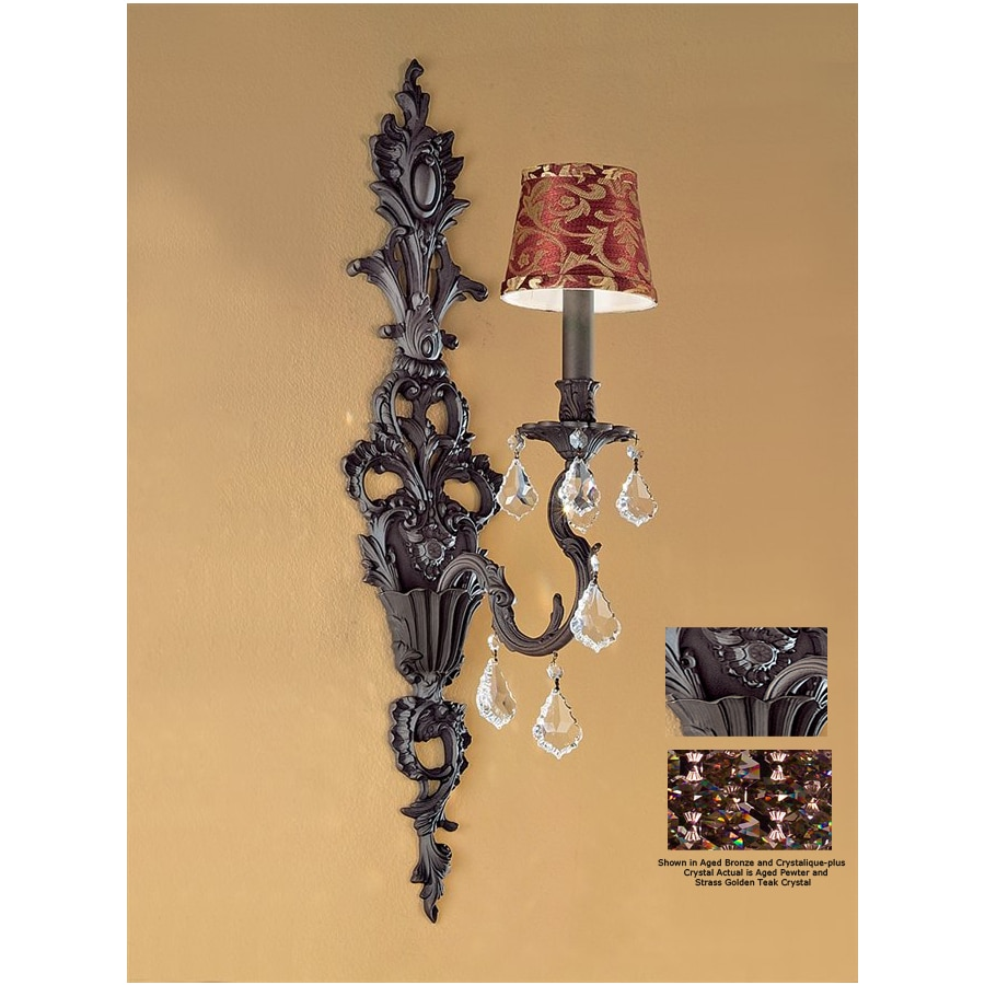 Classic Lighting 7-in W Majestic 1-Light Aged Pewter Crystal Accent Arm Wall Sconce
