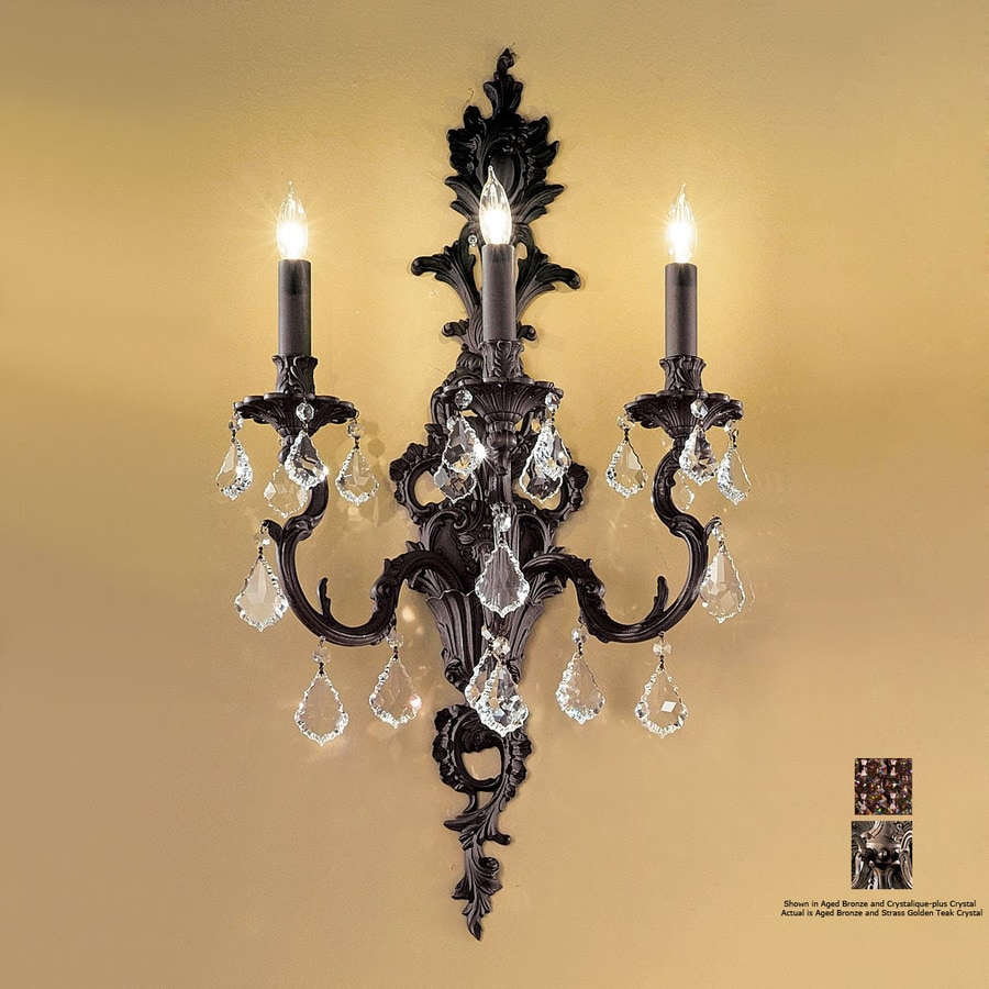 Clic Lighting 16 In W Majestic 3 Light Aged Bronze Crystal Accent Arm Wall