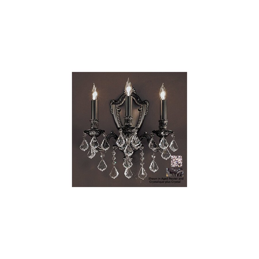 Classic Lighting 14-in W Chateau 3-Light Aged Pewter Crystal Accent Arm Wall Sconce