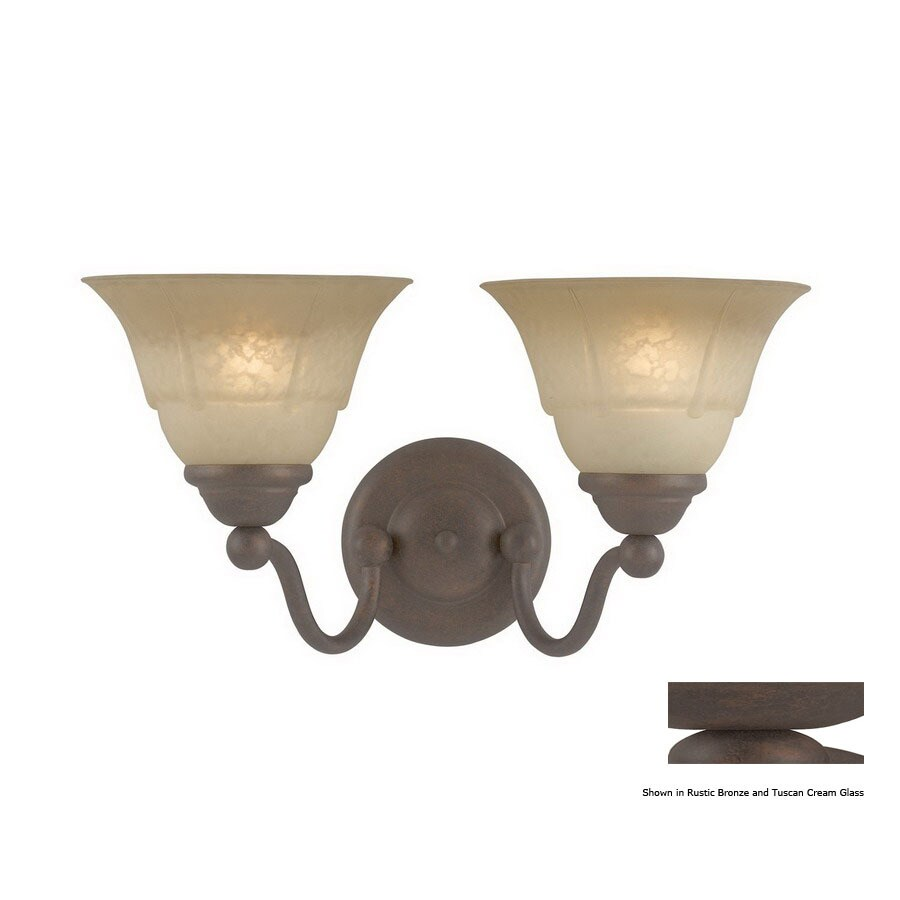 Classic Lighting Providence 15-in W 2-Light Rustic Bronze Arm Hardwired Wall Sconce